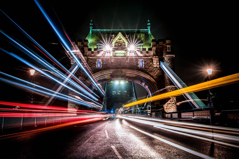 Spectacular light trails at night on London Bridge