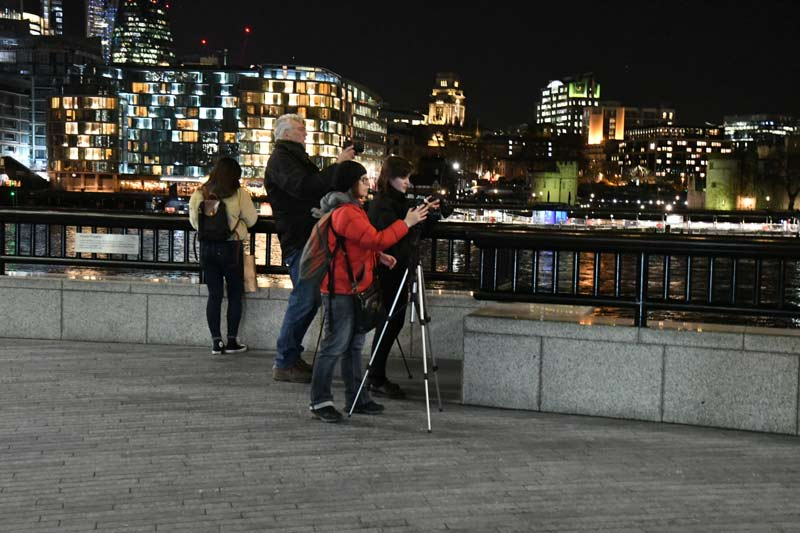 a group of photographers on a night photography tour